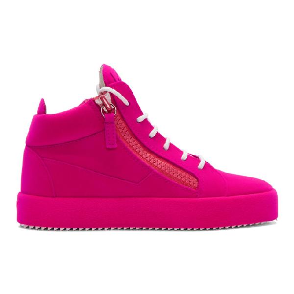fdb9c220e12dc Giuseppe Zanotti Pink Flocked May London High-Top Sneakers | ModeSens