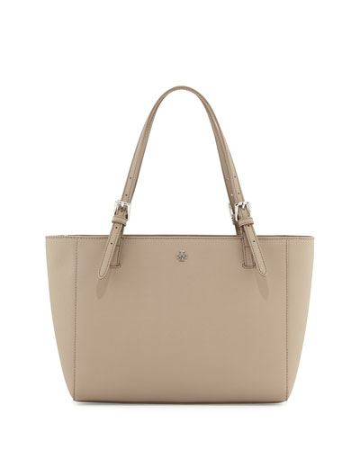 Tory Burch 'Small York' Saffiano Leather Buckle Tote In French Grey