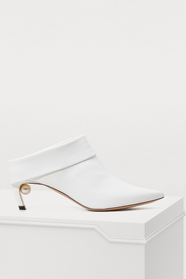 Nicholas Kirkwood Leather Mira Pearl Mule Boots 55 In White