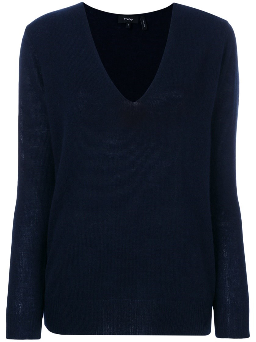 Theory Adrianna V-neck Cashmere Jumper In Berry