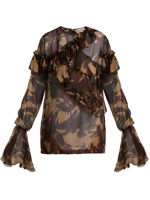 a99741ba4f11f Preen By Thornton Bregazzi - Bella Camouflage Print Silk Chiffon Blouse -  Womens - Multi In