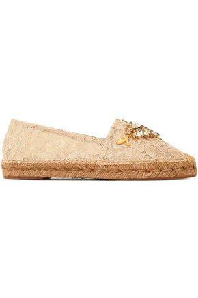 Dolce & Gabbana Woman Embellished Corded Lace Espadrilles Beige