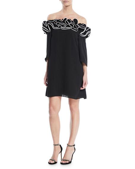 Halston Heritage Flowy Mini Dress W/ Ruffle Trim In Black/Cream