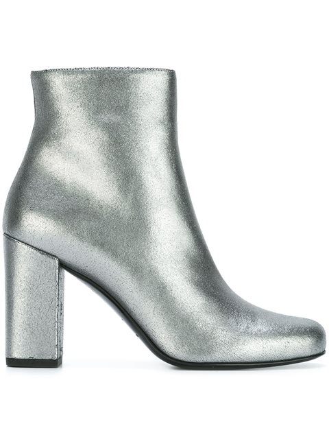Saint Laurent Babies 70 Ankle Boot In Silver Metallic Leather And Silver-toned Metal