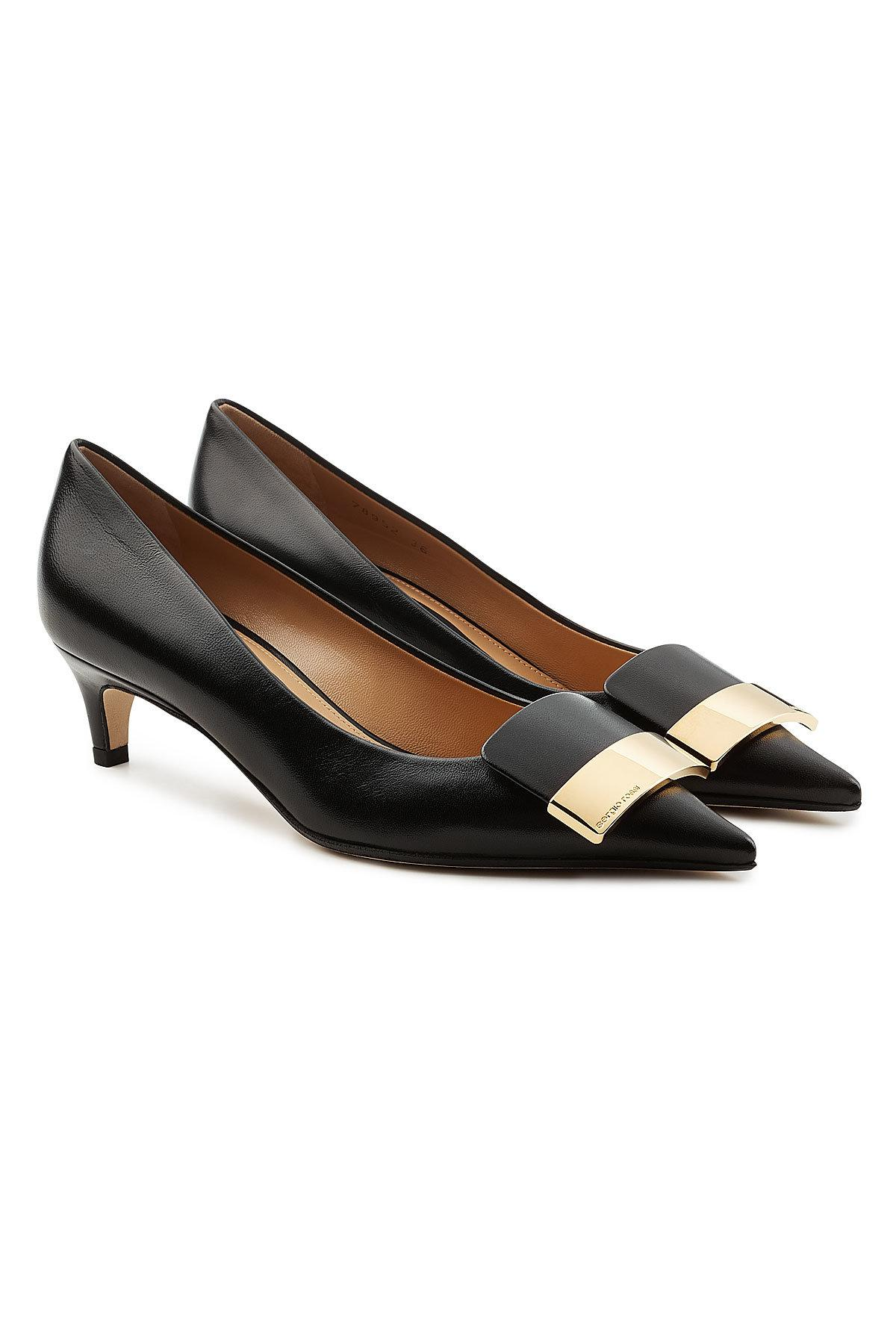 Sergio Rossi Leather Kitten Heel Pumps In Black