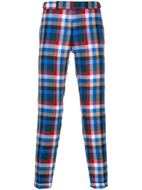 Thom Browne Gingham Tartan Twill Skinny Trousers In Multicolour