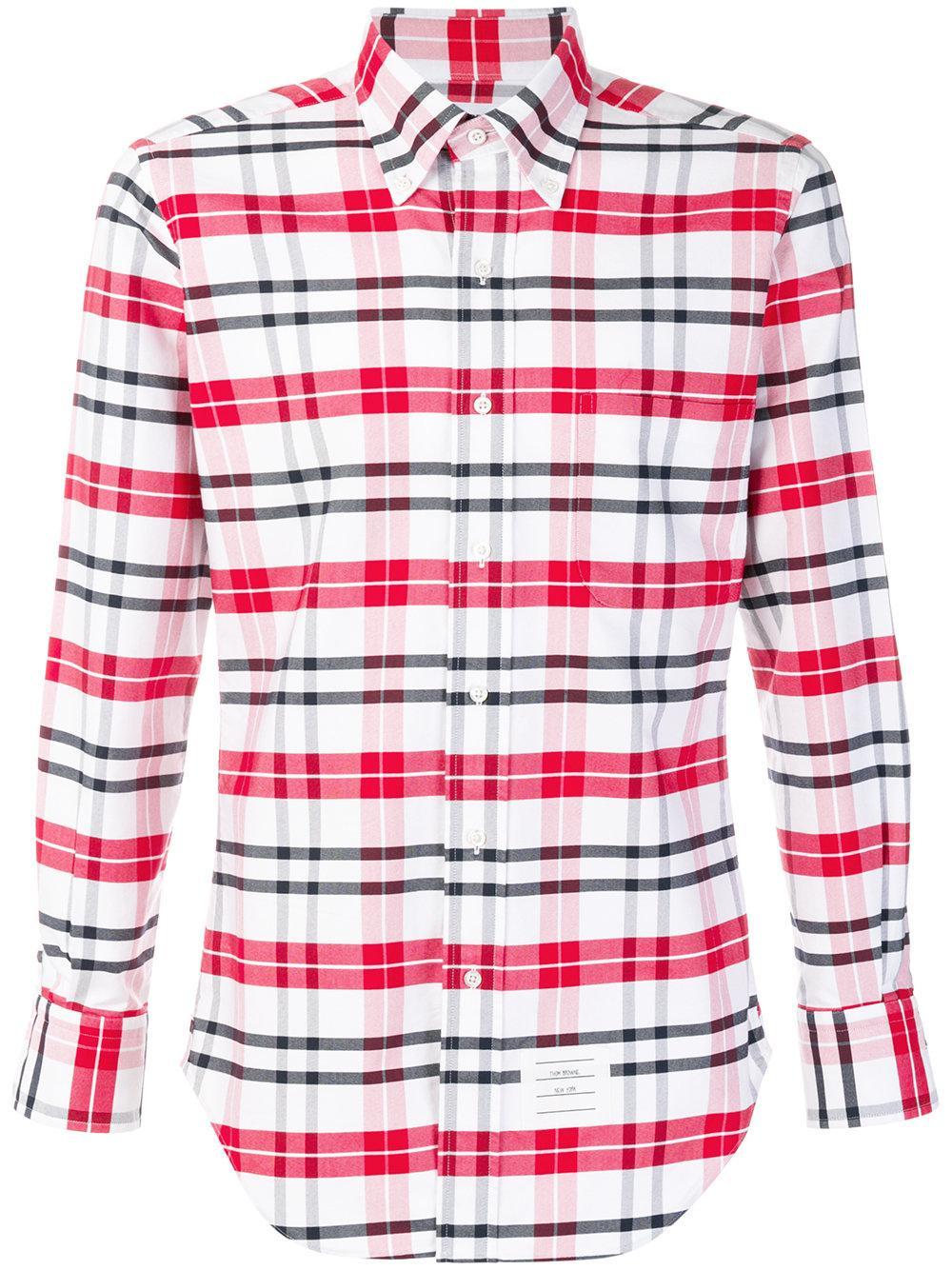 Thom Browne Tartan Shirt In Red