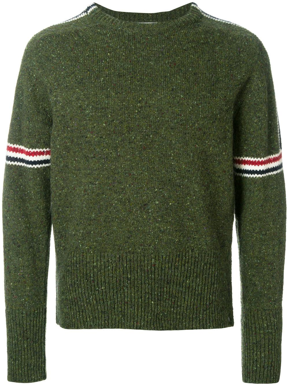 Thom Browne Donegal-Effect Wool-Mohair Sweater - Olive In Green
