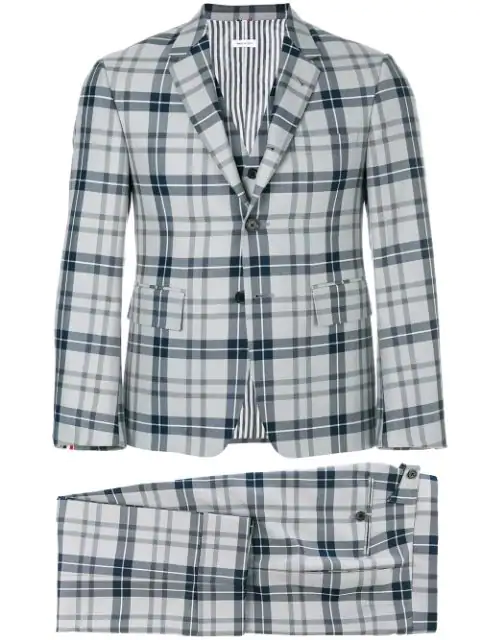 Thom Browne Exclusive Tartan Wool-Blend Three-Piece Suit In Grey