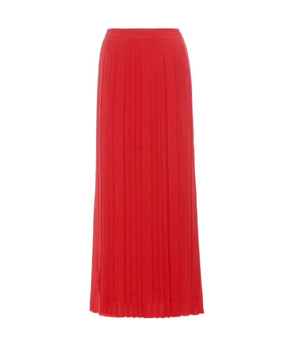 Tory Burch Rowan Pleated Silk Maxi Skirt In Redstoee