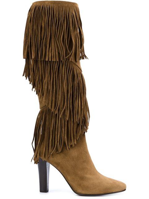 Saint Laurent 'lily' Fringe Boots - Brown