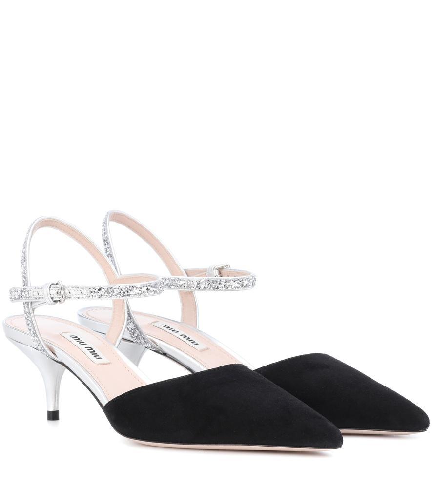 14e04992e670 Miu Miu Suede And Glittered Leather Pumps In Black | ModeSens