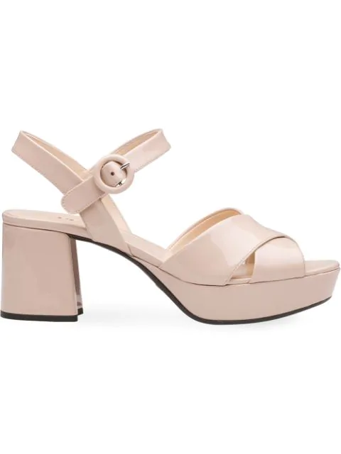 Prada Patent Leather Platform Ankle-Wrap 65Mm Sandals In Pink