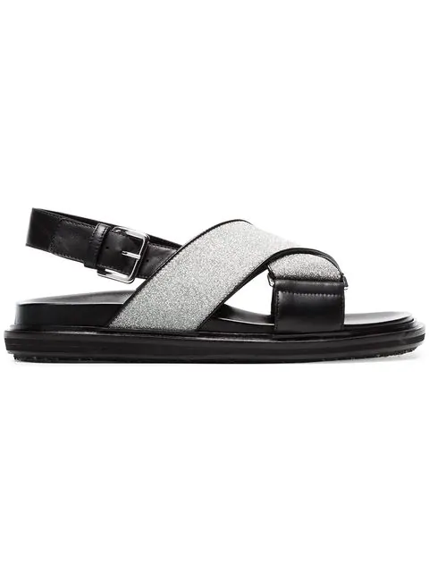 Marni Black And Silver Fussbett Cross-Over Lurex Leather Sandals