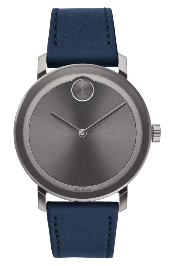 Movado Bold Leather Strap Watch, 40mm In Navy/ Grey