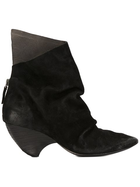 MarsÈLl Suede Curved Heel Ankle Boots In Black