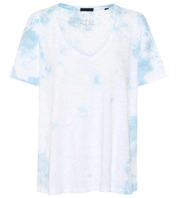 54299d5a ATM ANTHONY THOMAS MELILLO. Atm - Boyfriend V Neck Cotton T Shirt - Womens  - Blue White