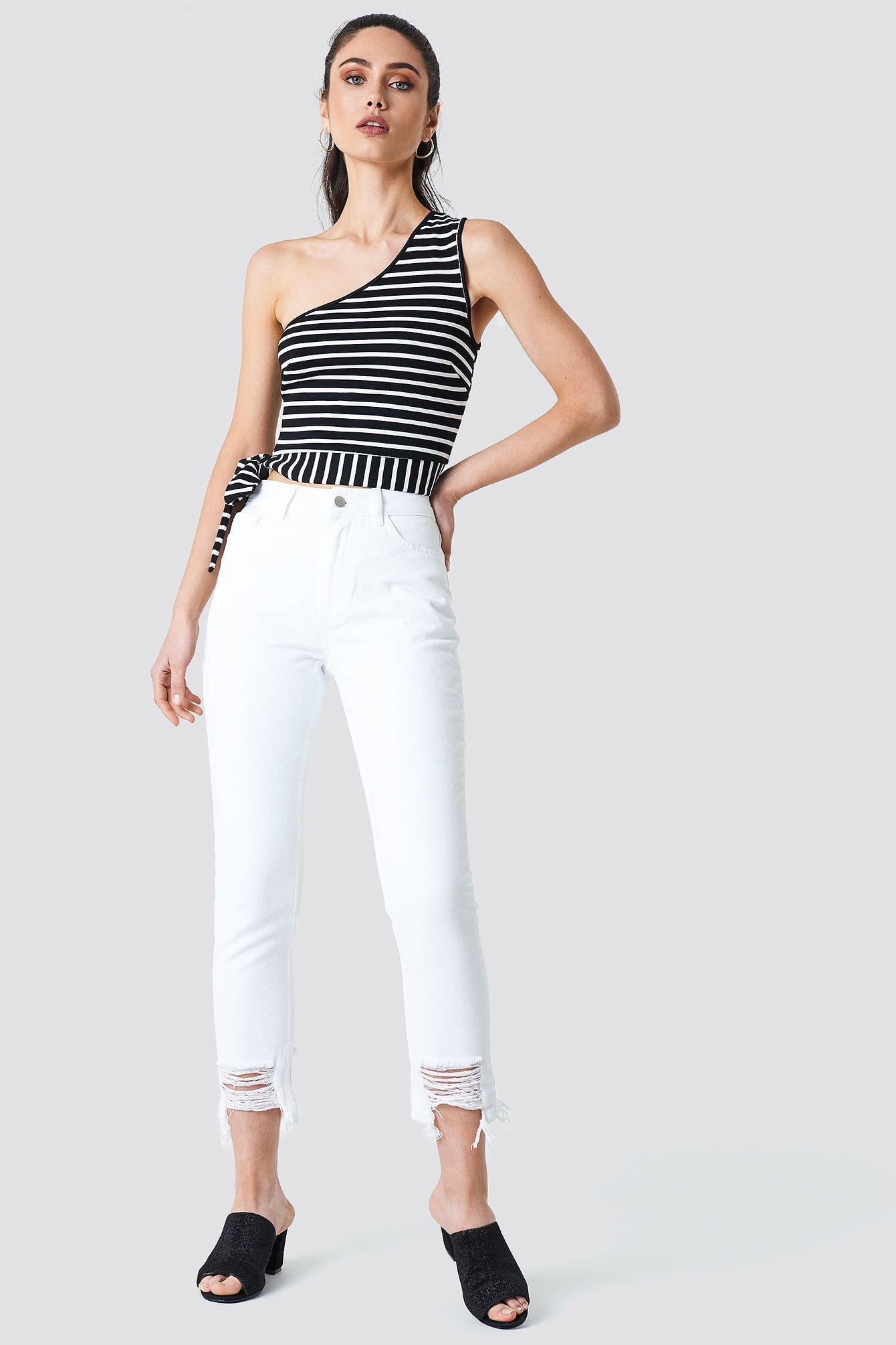 75e37f741d0 Na-Kd Ripped Hem Jeans - White