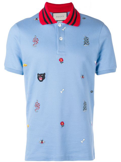 e332c6a2 Embroidered Cotton Polo Shirt in Blue