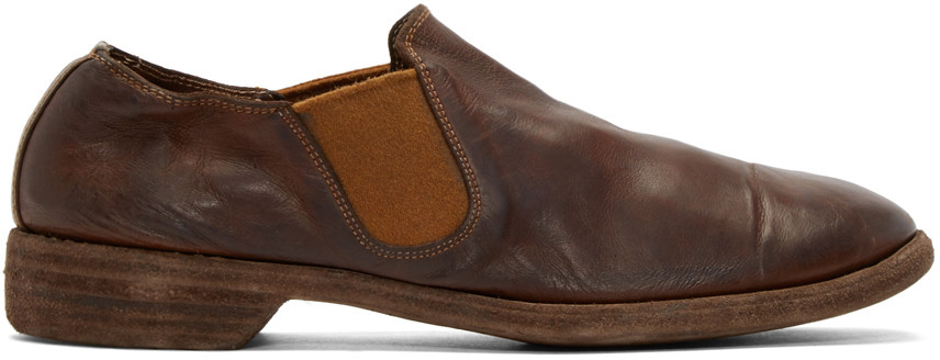 Guidi Brown Leather Distressed Loafers In Cv85t / Brown