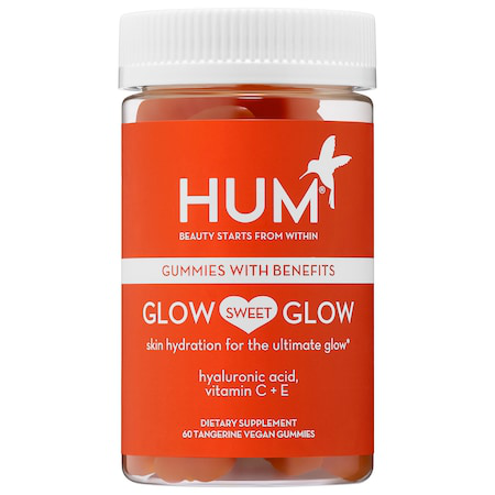 Hum Nutrition Glow Sweet Glow Gummies - Vegan Hyaluronic Acid Supplement For Skin Hydration In Dark Orang
