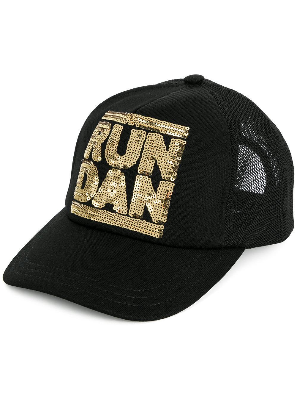 efe3f3837a7 Dsquared2 Run Dan Sequin Cap In Black