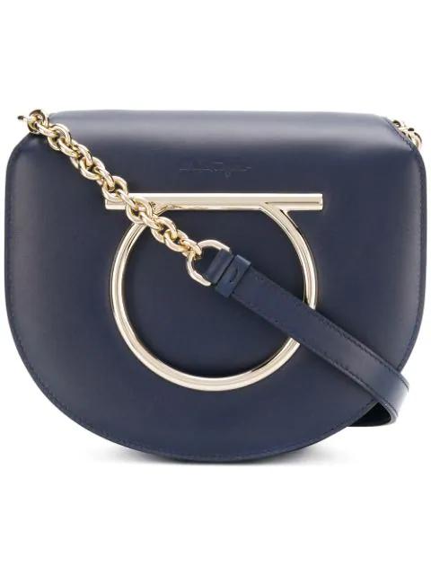 Salvatore Ferragamo Medium Vela Shoulder Bag In Blue