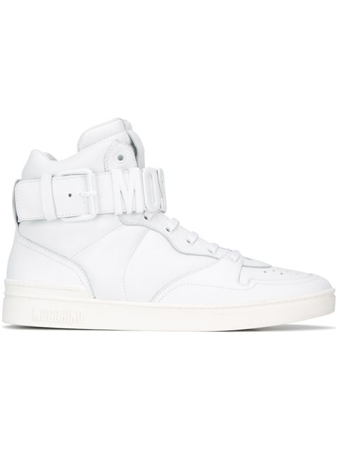 Moschino Logo Plaque Hi-top Sneakers In White