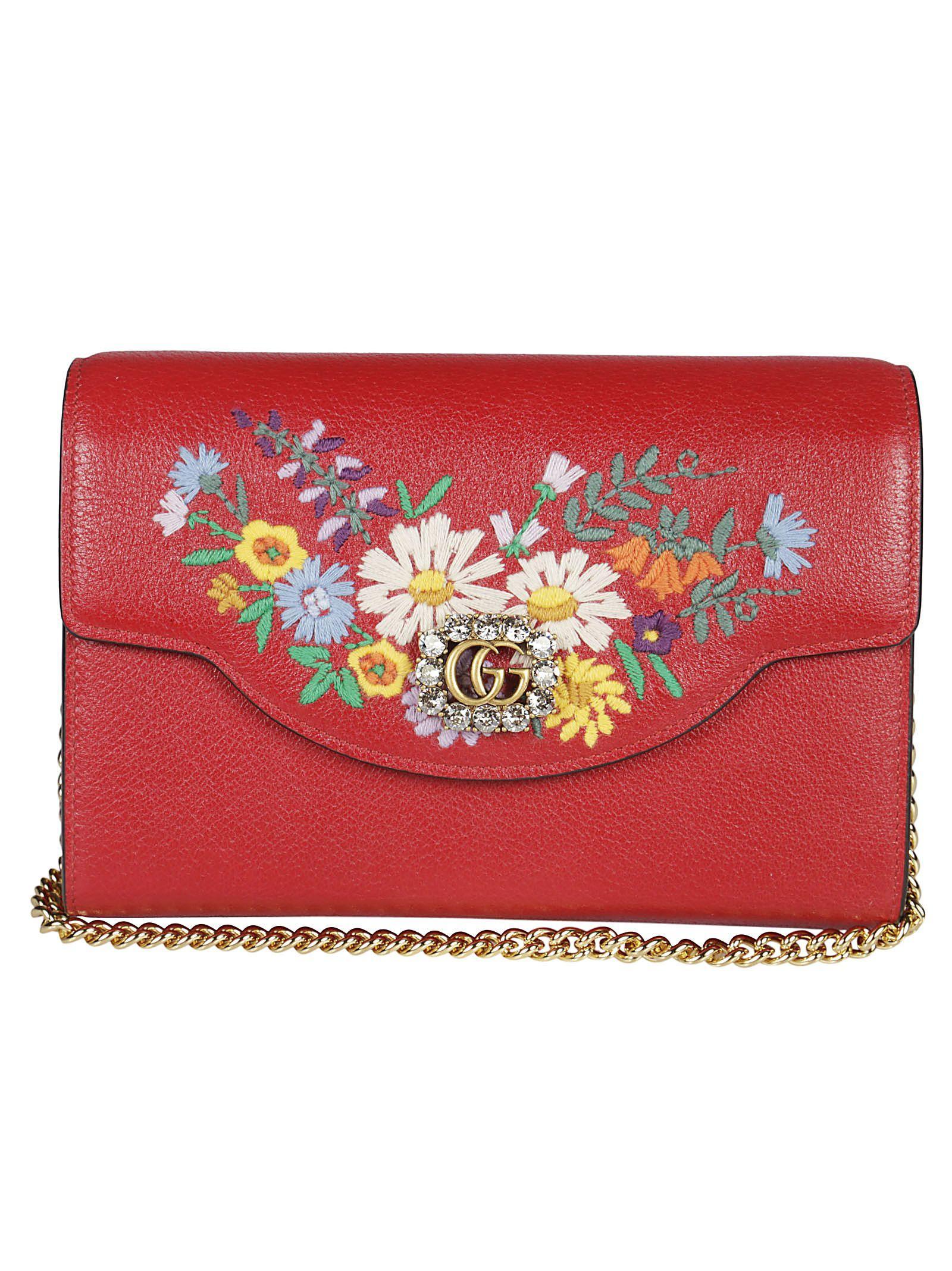 1480bd8d2832 Gucci Embroidered Floral Shoulder Bag In Red   ModeSens