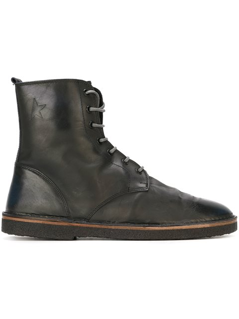 Golden Goose Lace-up Ankle Boots In Silver Black Leather|nero