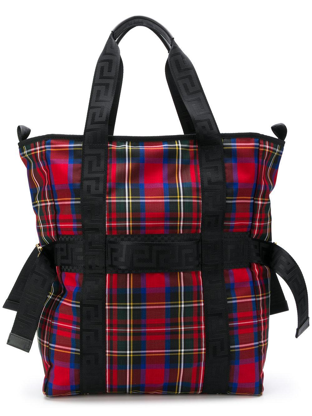 60d2d4610 Versace Tartan Print Greca Ribbon Tote Bag In Red | ModeSens