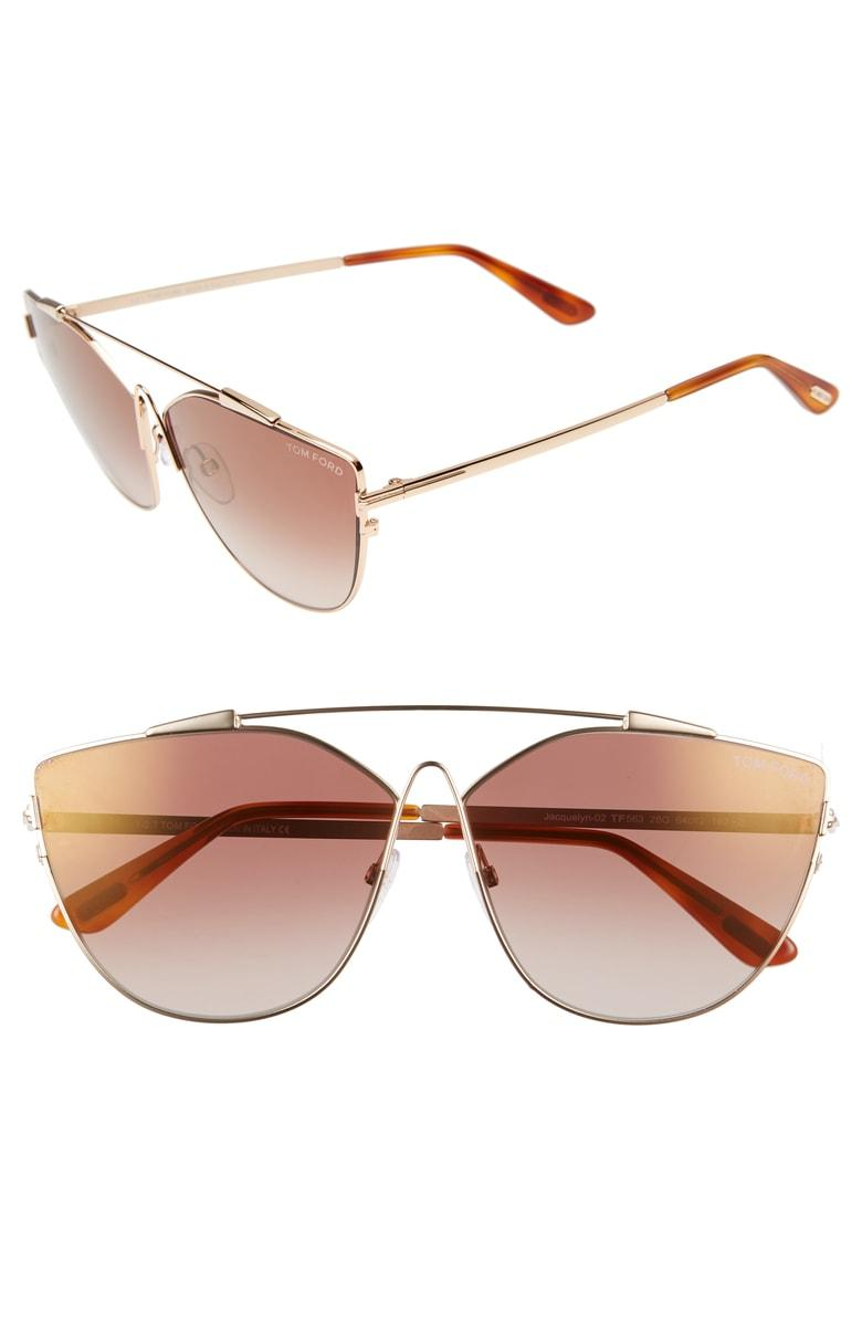 5cb853c381f5 Tom Ford Jacquelyn 64Mm Cat Eye Sunglasses - Gold/ Brown Gradient ...