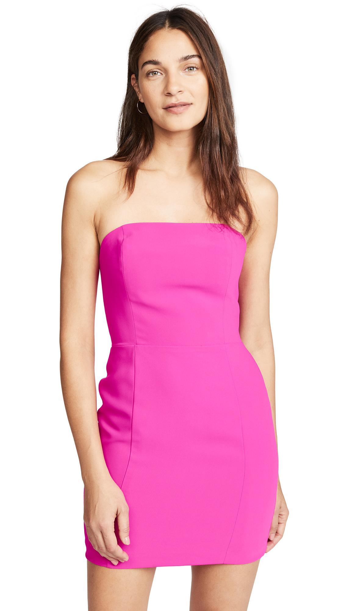 Amanda Uprichard Mandy Dress In Hot Pink