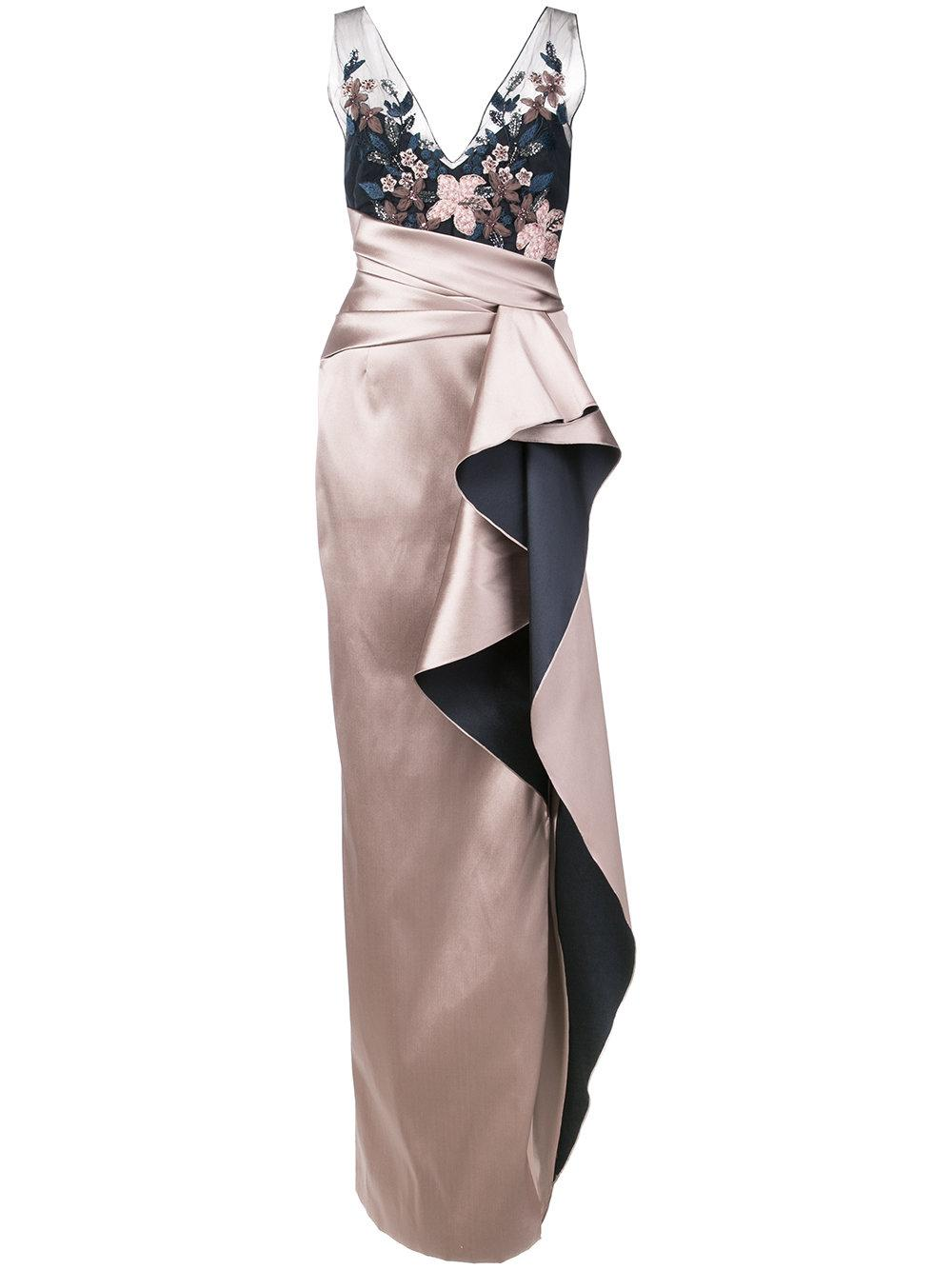 d2d088e4 Marchesa Notte Embroidered Sequined Column Gown - Pink | ModeSens