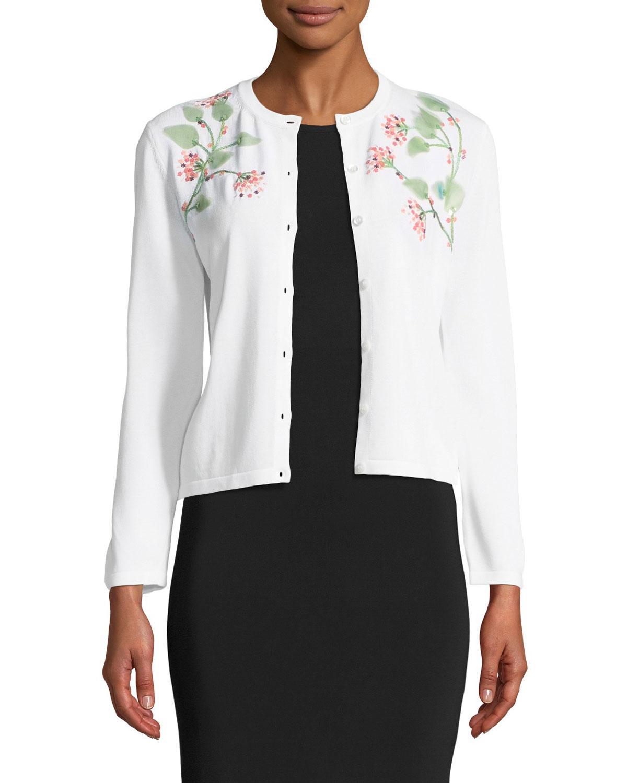 209acaa30 Carolina Herrera 3/4-Sleeve Button-Down Cardigan W/ Floral Leaf ...