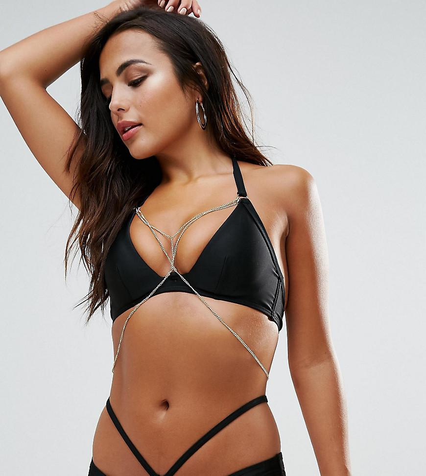 b9220c3ab85a0 Wolf   Whistle Plunge Bikini Top With Exposed Cradle   Chain B-F Cup - Black