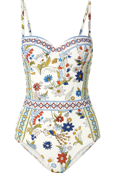 ae08c7d60be56 Tory Burch Meadow Folly Underwire One-Piece Swimsuit In White | ModeSens