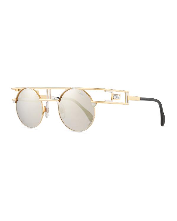 d1c4ba926e54 Cazal Men s Round Double-Bar Metal Sunglasses