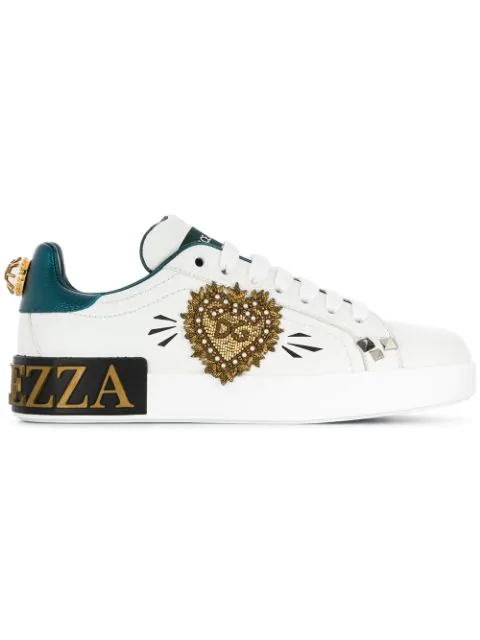 Dolce & Gabbana Portofino Sneakers In Printed Nappa Calfskin With Patch And Applications In White