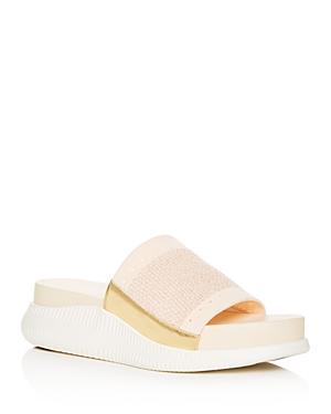 78d71af8f65 Cole Haan Women s 2.Zerogrand Stitchlite Knit Platform Slide Sandals In  Brazilian Sand  Gold