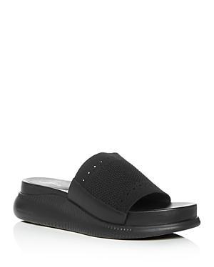 83914eee965 Cole Haan Women s 2.Zerogrand Stitchlite Knit Platform Slide Sandals In  Black Leather