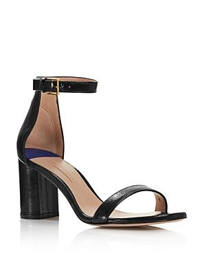 137537b89 Stuart Weitzman 75Lessnudist Goat Leather City Sandals In Black Gleaming  Tripon