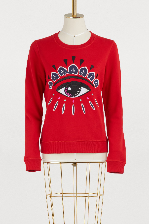 27c41f81bfe5a Kenzo Red Eye-Embroidered Cotton Sweatshirt In Medium Red | ModeSens