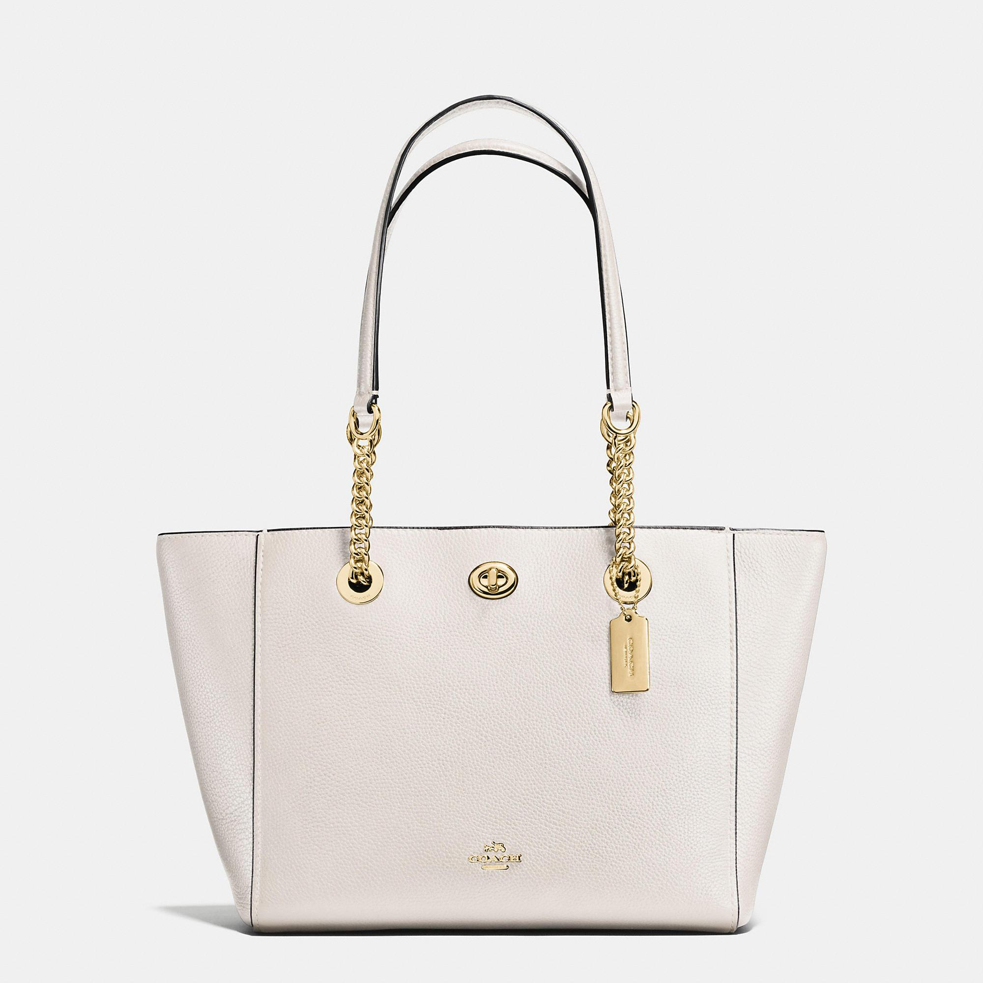 3a5b6fcac Coach Turnlock Chain Tote 27 - Women's In Light Gold/Chalk | ModeSens