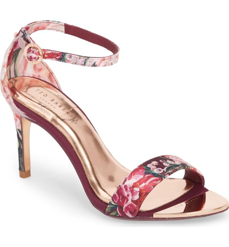 6c69df4d9078 ... floral pattern blooms across the slim straps of an elegant sandal  lifted by a stiletto heel and finished with a glinting buckle. Style Name  Ted  Baker ...