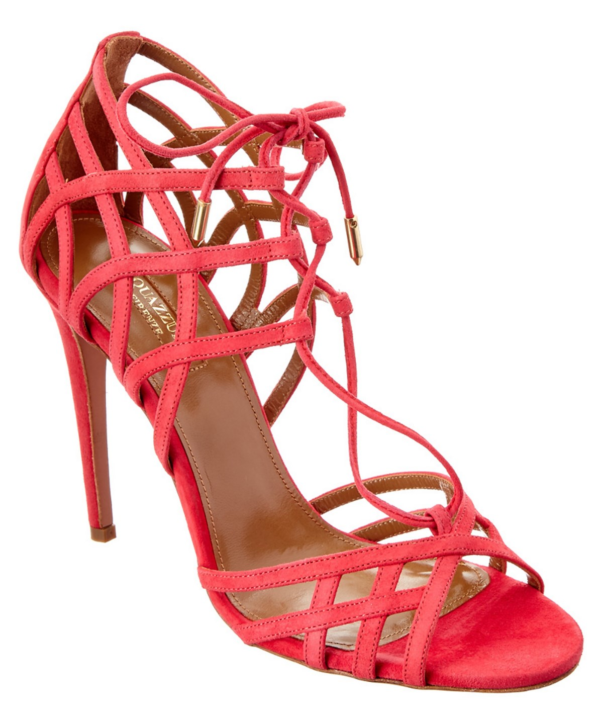 Aquazzura Ginger 105 Lace Up Suede Sandal' In Sorbet