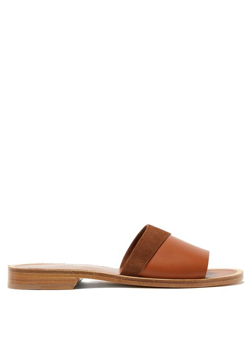 9ca3056578a A.P.C. Kenza Leather And Suede Slides In Tan | ModeSens