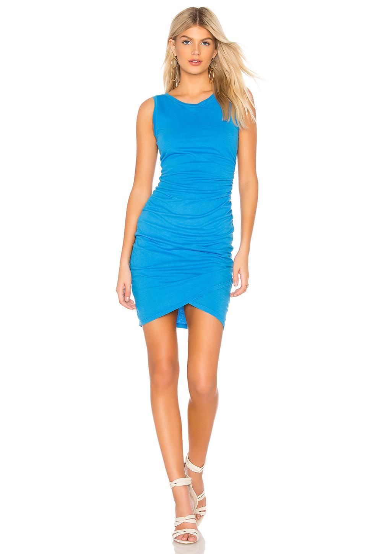 Bobi Supreme Jersey Ruched Bodycon Dress In Blue