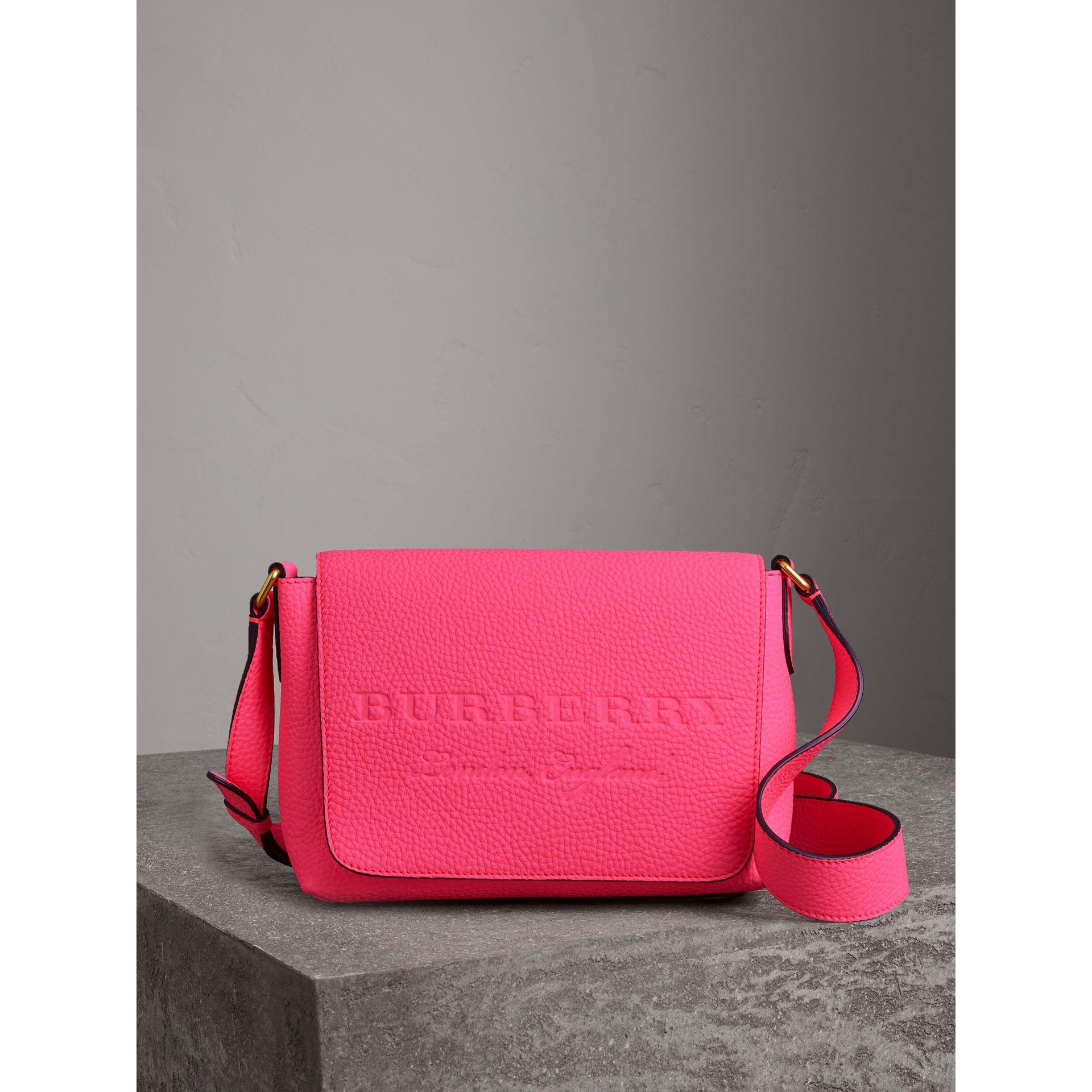 7ec7cb7e2713 Burberry Small Embossed Neon Leather Messenger Bag In Neon Pink ...