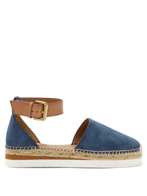See By ChloÉ Raised-sole Suede Espadrilles In Navy